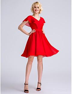 2017 לנטינג bride® שמלת השושבינה שיפון באורך הברך - א-קו צווארון V עם כורכת צד