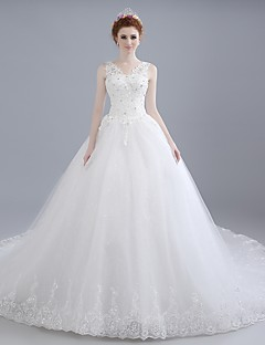 Ball Gown Wedding Dress Chapel Train V-neck Lace / Satin / Tulle with Beading / Lace