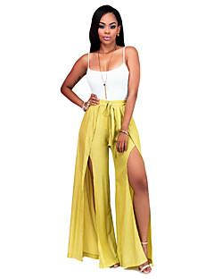 Women's Sexy Strape Sleeveless Solid Color Thigh Split Wide Leg Pants Clothing Sets(Strape Tee & Pants)