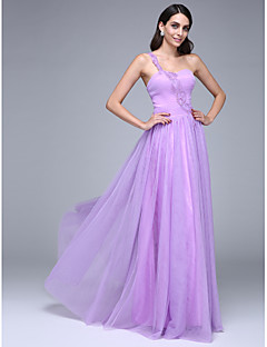 TS Couture® Formal Evening Dress A-line One Shoulder Floor-length Tulle with Beading / Ruching