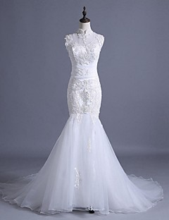 Trumpet / Mermaid Wedding Dress See-Through Court Train High Neck Lace Tulle with Appliques Beading