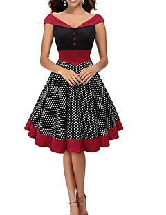 Womens Fashion Elegant Polka Dot Vintage Style Swing Rockabilly Party Dress
