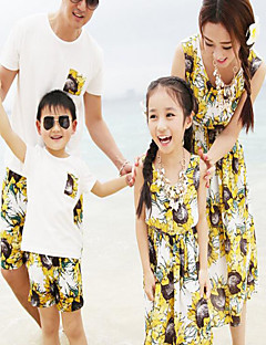 Short Sleeve Cotton Family Clothing Sets,Summer Dress / Clothing Set