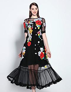 mary yan& yu Frauen anspruchsvolle Swing Kleid, bestickt Rundhals maxi Kurzarm schwarz Baumwolle Ausgehen
