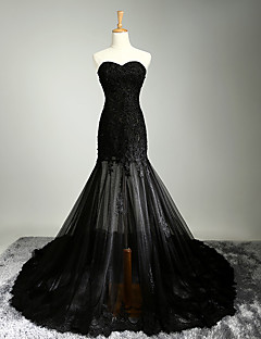 Formal Evening Dress - See Through A-line Sweetheart Chapel Train Satin Tulle with Appliques Beading