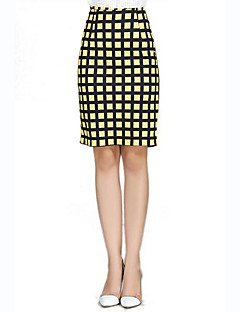 Women's Print White / Yellow Skirts,Street chic Knee-length