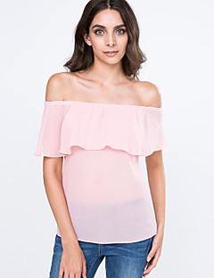 Kortærmet Bateau-hals Tynd Kvinders Rosa / Hvid Ensfarvet Sommer Sexet Casual/hverdag T-shirt,Bomuld