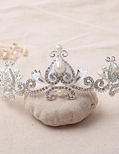 Dame Rhinsten / Legering / Imiteret Perle Medaljon-Bryllup Diademer / Pandebånd 1 Stykke Sølv