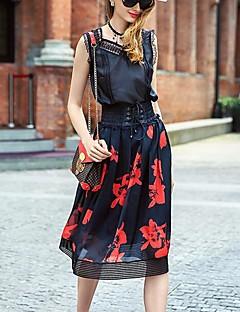 PRASEM kvinnors tryckta svarta kjolar, enkel knälång