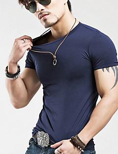 남성의 면 퓨어 짧은 소매 캐쥬얼 / 스포츠 티셔츠-블랙 / 블루 / 레드 / 화이트 / 옐로