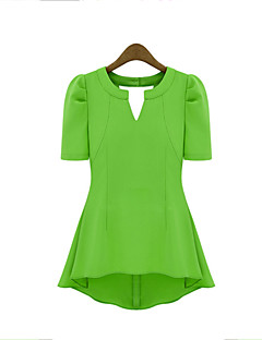 Women's Casual/Daily Street chic Summer T-shirt,Solid Deep V Short Sleeve Red / Black / Green / Yellow Polyester Medium