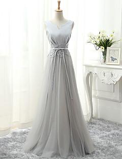 포멀 이브닝 드레스 A-라인 V-넥 바닥 길이 튤 와 레이스