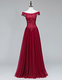 Formal Evening Dress A-line Off-the-shoulder Floor-length Tulle with Appliques