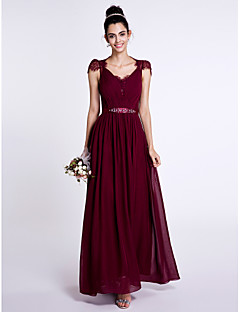 Ankle-length Chiffon / Lace Bridesmaid Dress Sheath / Column V-neck with Beading / Bow(s) / Lace