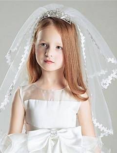 Wedding Veil Two-tier Shoulder Veils Ribbon Edge Tulle White