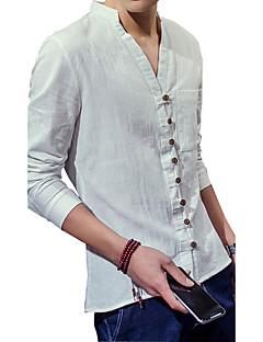Summer retro men cotton long sleeved T-shirt slim young pure linen shirt collar tide