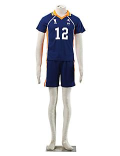 Inspiriert von Haikyuu Midorubulooka Anime Cosplay Kostüme Cosplay Kostüme Einfarbig Blau / Orange Kurze Ärmel T-Shirt-Ärmel / Kurze Hosen