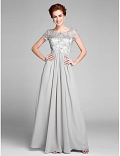 Lanting Bride Sheath / Column Mother of the Bride Dress Floor-length Short Sleeve Chiffon with Crystal Detailing / Pleats
