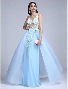 TS Couture® Formal Evening Dress A-line V-neck Floor-length Tulle with Pattern / Print