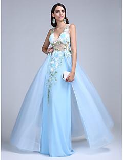 Evento Formal Vestido Corte en A Cuello en V Hasta el Suelo Tul con Diseño / Estampado