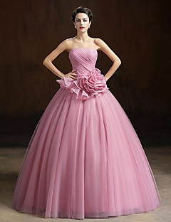 Ball Gown Strapless Floor Length Organza Formal Evening Dress with Flower(s) by Yiranmei