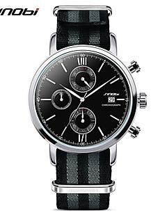 Herren Sportuhr Modeuhr Armbanduhr Quartz Japanischer Quartz Kalender Chronograph Wasserdicht Stopuhr Stoff Band Cool Schwarz Rot Marke
