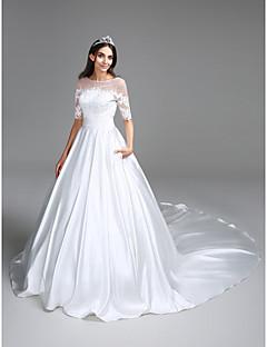 Lanting Bride® Balkjole Brudekjole Kapelslæb Bateau Satin med Applikeret broderi / Ruche / Paillette