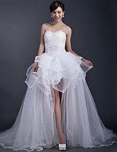 볼 드레스 웨딩 드레스 비대칭 스윗하트 튤 와 옆면 드레이프트 / 비즈