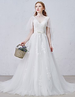 A-line Wedding Dress Court Train V-neck Tulle with Appliques