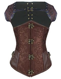 Shaperdiva Women's Steel Boned Gothic Steampunk Corset Brocade Waist Cincher