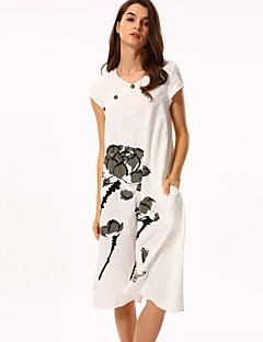 Women's Casual/Daily Vintage Loose Dress,Floral Round Neck Maxi Short Sleeve White Cotton Summer