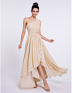 2017 Lanting Bride® Asymmetrical Chiffon Bridesmaid Dress - A-line One Shoulder with Side Draping