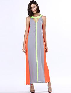 Vestito Da donna Linea A / Swing Vacanze Monocolore Maxi Rotonda Acrilico / Poliestere / Chiffon / Misto cotone
