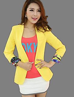 Damen Solide Street Schick Alltag Normal Verabredung Jacke,Hemdkragen Frühling/Herbst Lange Ärmel Standard Polyester