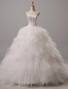 Ball gown sweetheart court train tulle hääpuku, jossa helminauha lan ting bride®