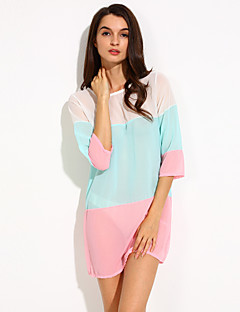 Women's Casual/Daily Loose Dress,Color Block Round Neck Above Knee ½ Length Sleeve Blue / Pink / Black / Yellow Others Spring
