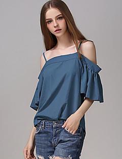 Tee-shirt Aux femmes,Couleur Pleine Décontracté / Quotidien Sexy Eté Manches Courtes A Bretelles Bleu Polyester Moyen