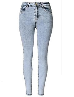 Mulheres Calças Moda de Rua Jeans Poliéster Micro-Elástica Mulheres