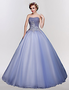 Formal Evening Dress Ball Gown Strapless Floor-length Tulle with Crystal Detailing / Embroidery / Lace