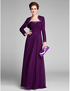 Lanting Bride Sheath / Column Mother of the Bride Dress Floor-length Sleeveless Chiffon with Crystal Detailing / Side Draping