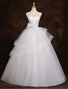 A-라인 웨딩 드레스 바닥 길이 스트랩 튤 와 비즈 / 리본