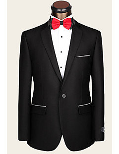 2017 Suits Tailored Fit Notch Single Breasted One-button Wool Solid 2 Pieces Straight Flapped None Black