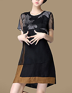 Women's Plus Size / Casual/Daily Street chic Loose Thin Dress,Floral Above Knee Short Sleeve Black Cotton / Linen Summer