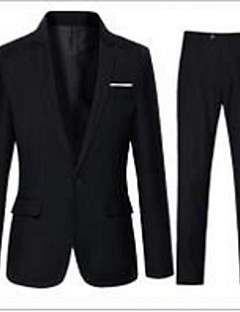 Suits Tailored Fit Notch Single Breasted One-button Cotton Blend Solid 2 Pieces Black / White Straight Flapped None (Flat Front) Black