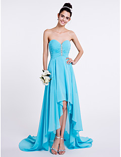 Lanting Bride® Asymmetrical Chiffon Bridesmaid Dress A-line Sweetheart with Beading / Ruching