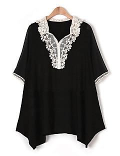 Damen Solide Übergröße Lässig/Alltäglich T-shirt,V-Ausschnitt Sommer ½ Länge Ärmel Blau / Rot / Schwarz Polyester Dünn