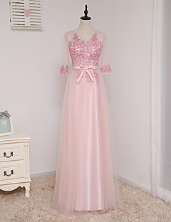 Formal Evening Dress A-line Scoop Floor-length Tulle with Bow(s)