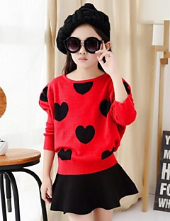 Girl's Casual/Daily Print Clothing Set,Polyester Spring / Fall Black / Red