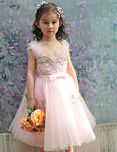 Ball Gown Knee-length Flower Girl Dress - Tulle / Charmeuse Sleeveless Square with Beading / Bow(s)