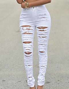 Mulheres Calças Moda de Rua Jeans Algodão Micro-Elástica Mulheres